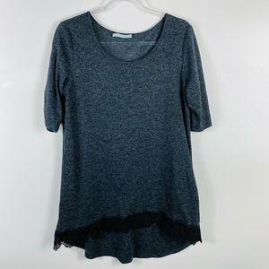 Maurices Gray Crochet Trim Knit Top Scoop Neck